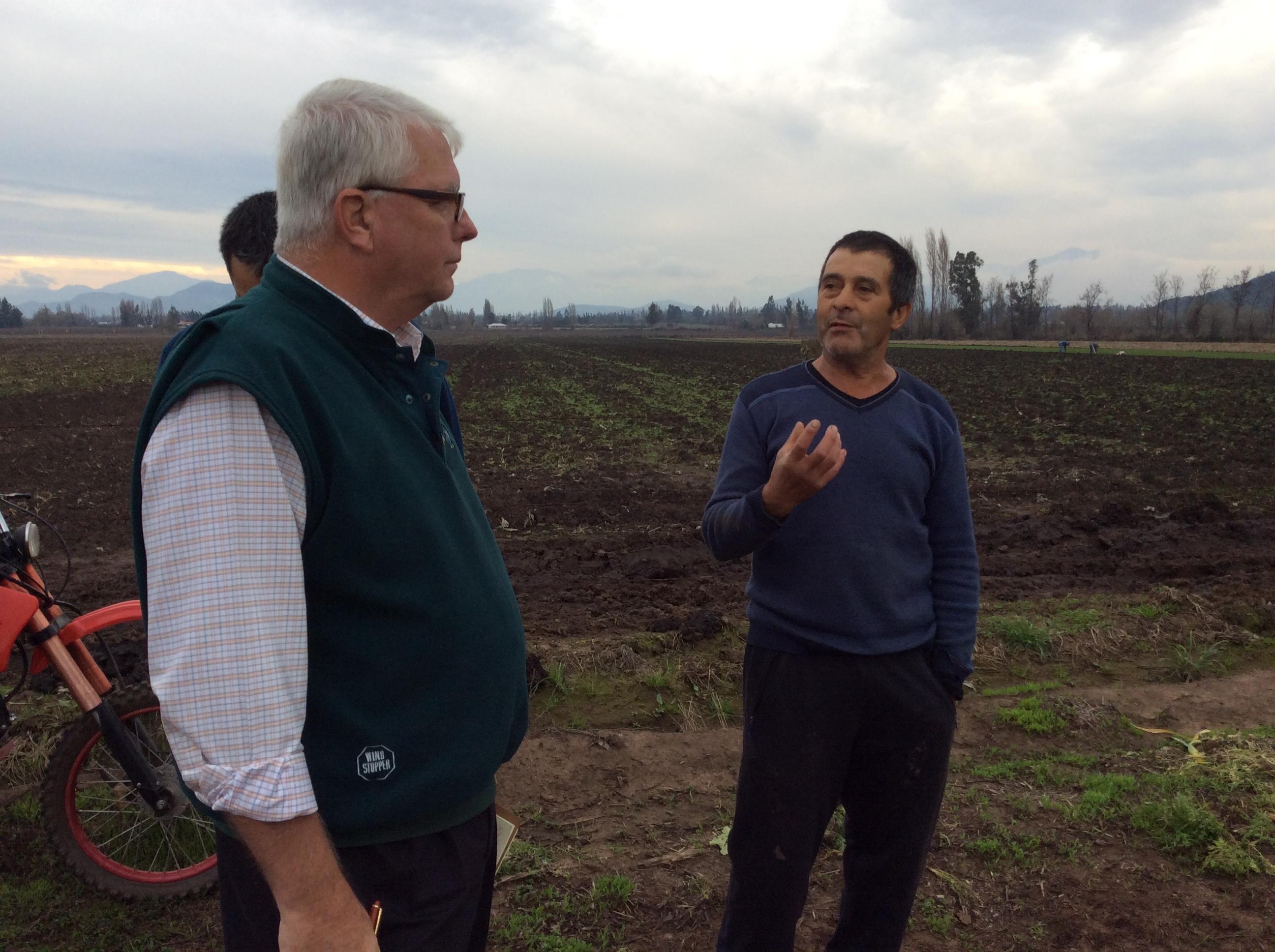Kee conversa con Sergio Placencio productor de ajos de sector Patria Joven de Rengo.