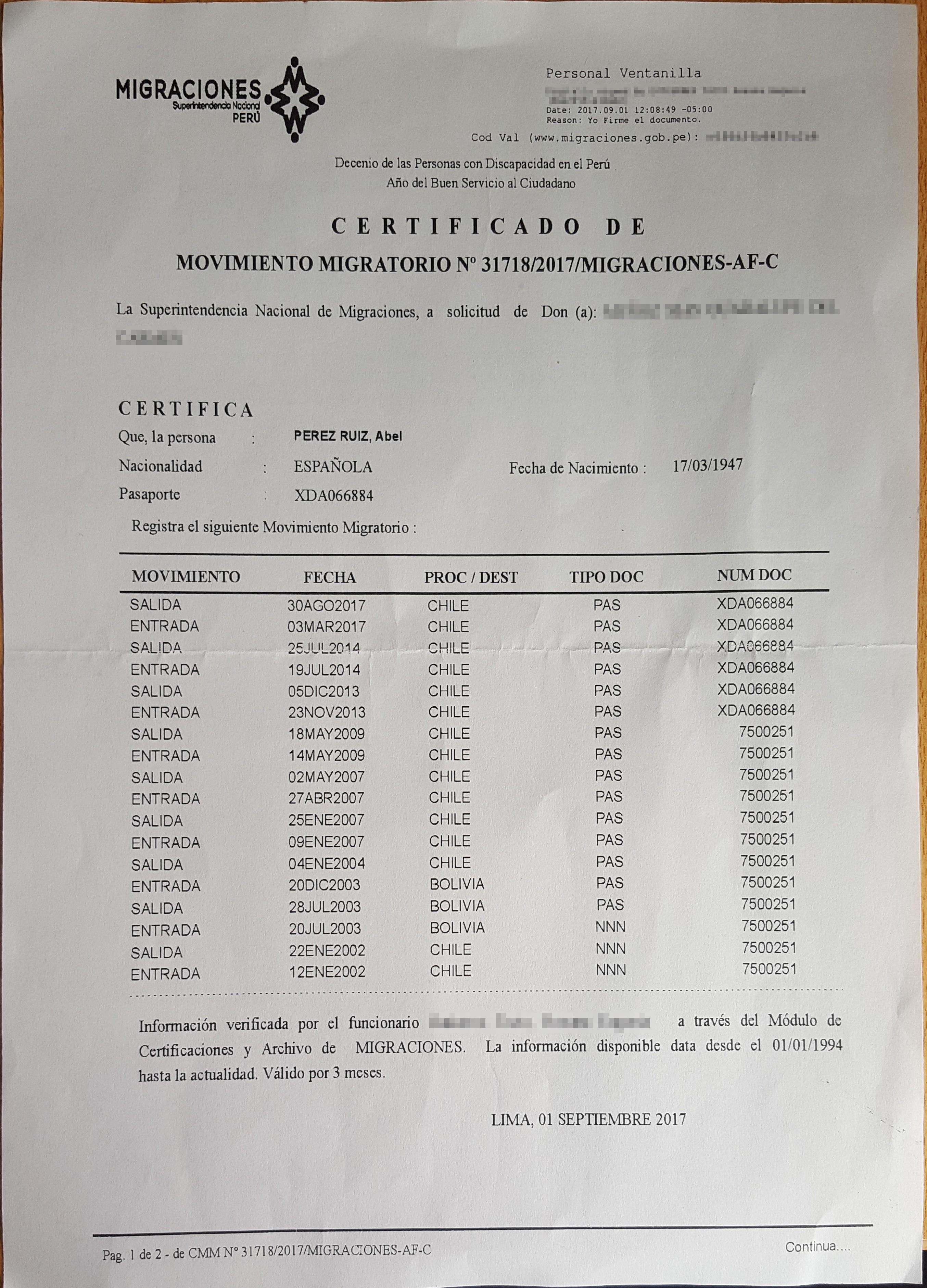 En este certificado quedan de manifiesto las entradas y salidas de Perú del hermano Abel Perez.
